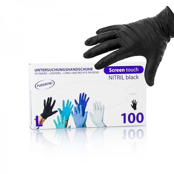 Screen touch - Einweghandschuhe Schwarz Gr. L aus Nitril ungepudert im Caddy