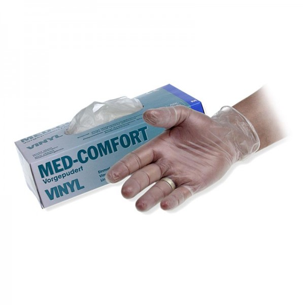 Med-Comfort - Einweghandschuhe hell Gr.M/ 7-8 aus Vinyl leicht gepudert im Caddy