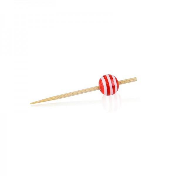 Deli-Vinos Kitchen Accessories - Holz Spieße mit Kristallkugel rot/weiß gestreift 5cm