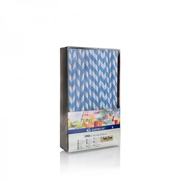 Gastroline - Papier Trinkhalme Streifen blau-weiß 19.7cm