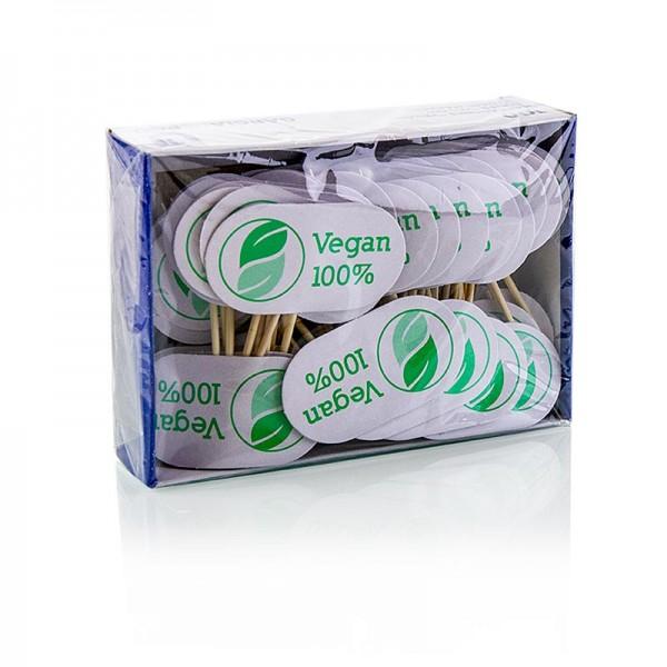 Deli-Vinos Kitchen Accessories - Holz Spieße mit Schild mit Aufschrift Vegan 8cm