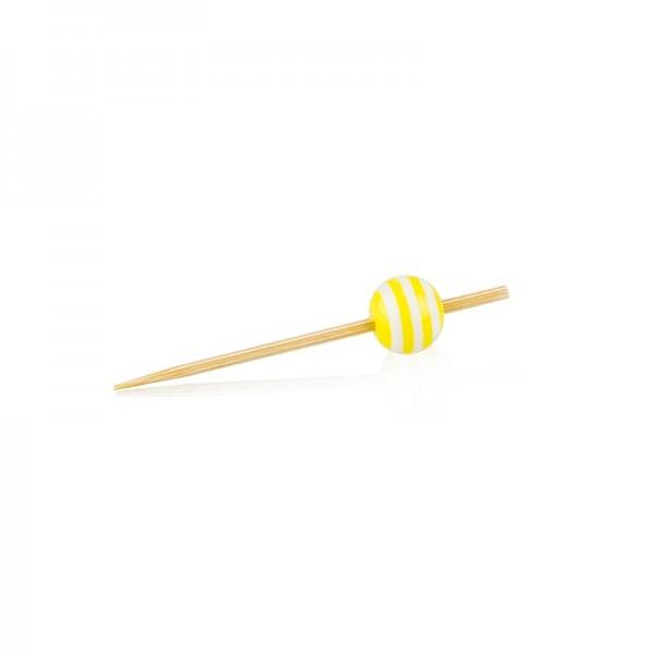 Deli-Vinos Kitchen Accessories - Holz Spieße mit Kristallkugel gelb/weiß gestreift 5cm