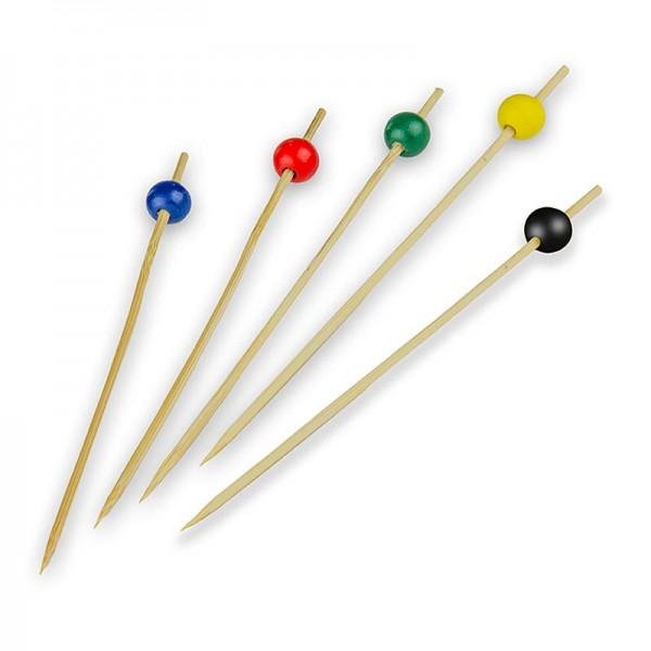 Deli-Vinos Kitchen Accessories - Bambus-Spieße mit Kugel 4 Farben (rot braun gelb blau) 15cm