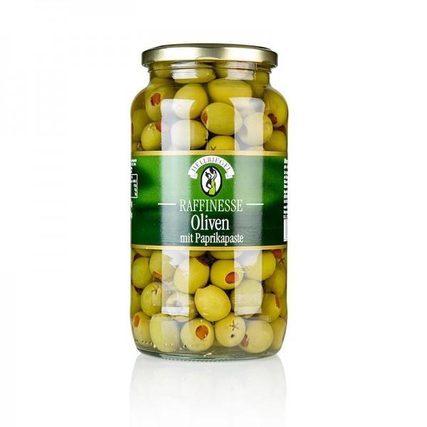 Hellriegel Raffinesse - Grüne Oliven mit Paprikapaste in Lake Raffinesse