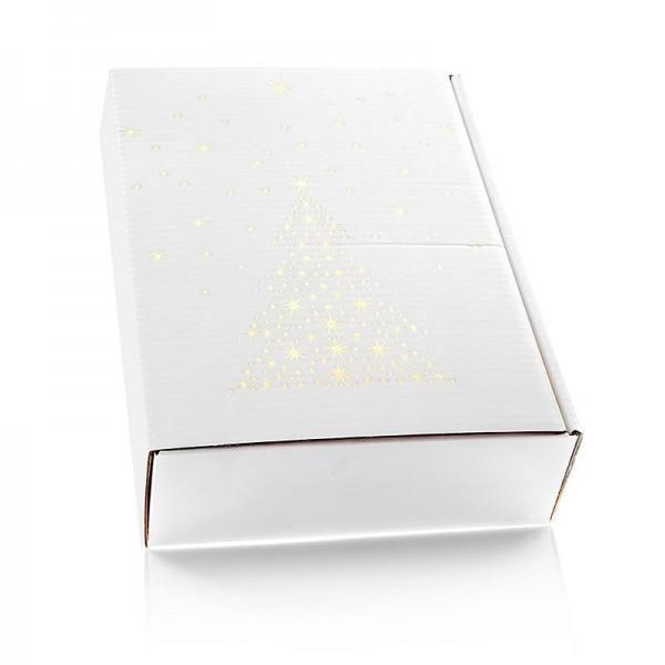 Famulus Verpackungen - Weinpräsentkarton Seta Bianco Sternenbaum 3er Präsentkarton weiß 360mm