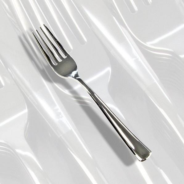 Deli-Vinos Kitchen Accessories - Einweg Silbergabeln Kunststoff silberfarben 18.5cm