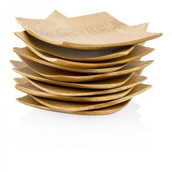 Deli-Vinos Kitchen Accessories - Mehrweg Bambusschalen flach und massiv quadratisch mit schwarzer Kante 6x6cm