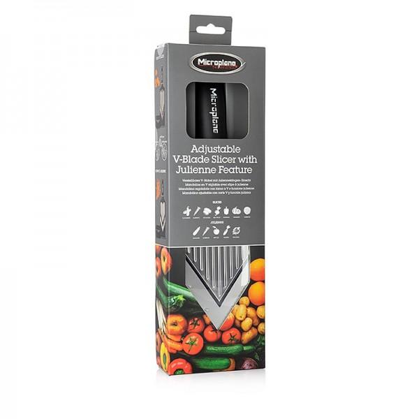 Microplane Gourmet - Microplane V-Hobel verstellbar mit Julienneklingen Einsatz