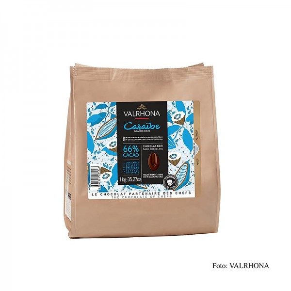 Valrhona - Pur Caraibe Grand Cru dunkle Couverture Callets 66% Kakao