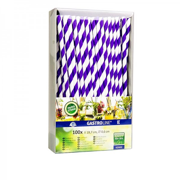 Gastroline - Papier Trinkhalme Streifen dinkel lila-weiß 19.7cm