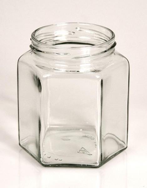 Deli-Vinos Kitchen Accessories - Glas sechseckig 390 ml 70mm Mündung ohne Deckel