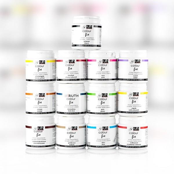 Ruth - Lebensmittelfarbe Sortiment wasserlöslich 13 Farben x 50g 9150 Ruth