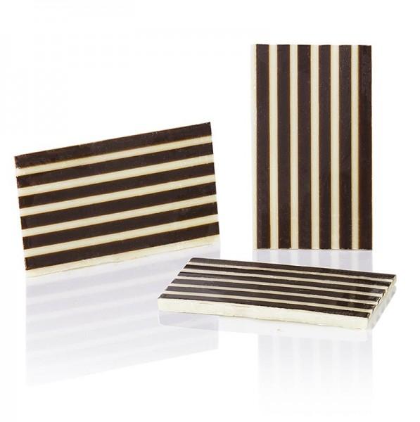 Deli-Vinos Patisserie - Deko-Aufleger Stripes - Rechteck weiße/dunkle Schokolade gestreift 25x40mm