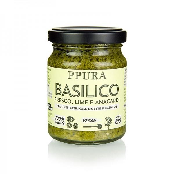 Ppura - Ppura Pesto Basilico mit Limette und Cashewkernen vegan BIO