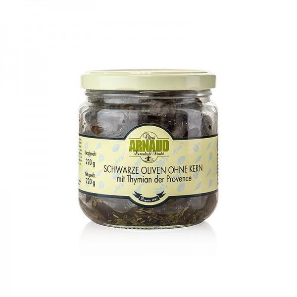 Arnaud - Schwarze Oliven ohne Kern mit Thymian in Sonnenblumenöl Arnaud