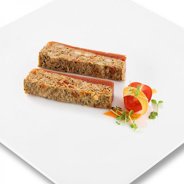 Rougie - Entenfleisch Terrine mit glasierten Tomaten und Pesto Trapez Rougié