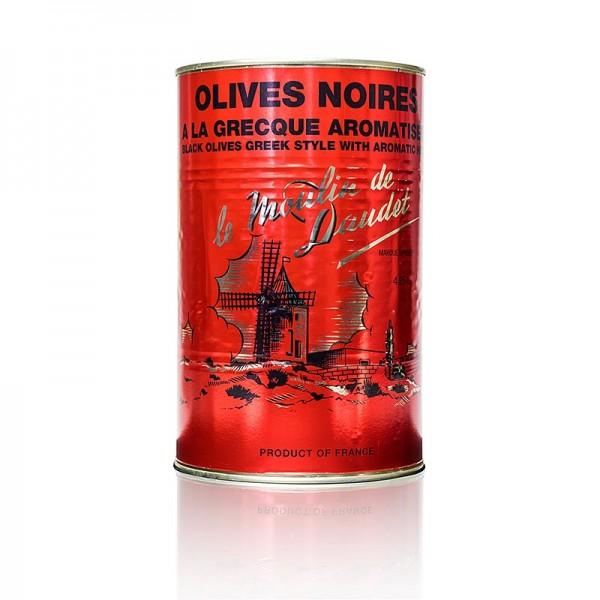 Deli-Vinos Snack Selection - Schwarze Oliven mit Kern mit Kräutern der Provence in Sonnenblumenöl