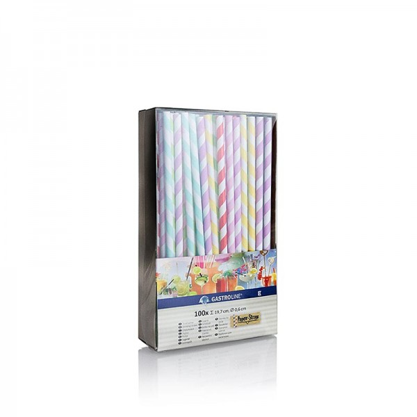 Gastroline - Einweg Papier Trinkhalme Streifen 6 Farben 19.7cm