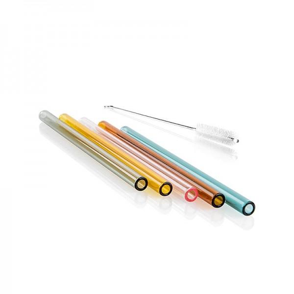 Deli-Vinos Kitchen Accessories - Glas-Trinkhalme (Borosilicat) gerade & bunt ø8mm (1.5mm Wand) 15cm