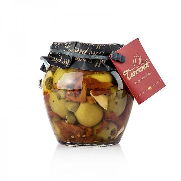 Torremar - Grüne Oliven Gordal ohne Kern Tomate/Kapern 580g (Atg. 300g) Torremar S.L.