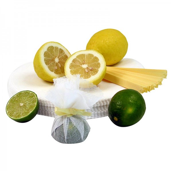 The Original Lemon Wraps - The Original Lemon Wraps - Zitronenserviertuch weiß mit gelber Krawatte