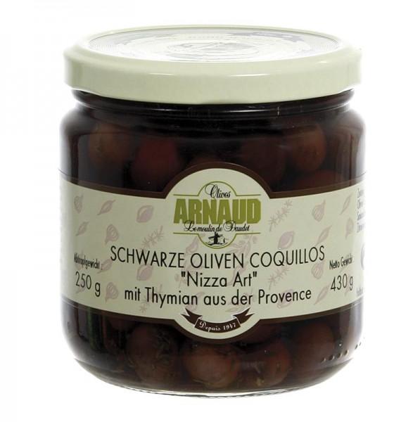 Arnaud - Schwarze Oliven mit Kern Coquillos Oliven mit Thymian in Lake Arnaud