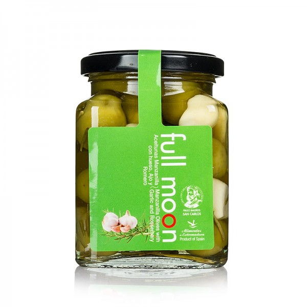San Carlos Gourmet - Grüne Manzanilla Oliven mit Kern mit Knoblauch & Rosmarin San Carlos Gourmet