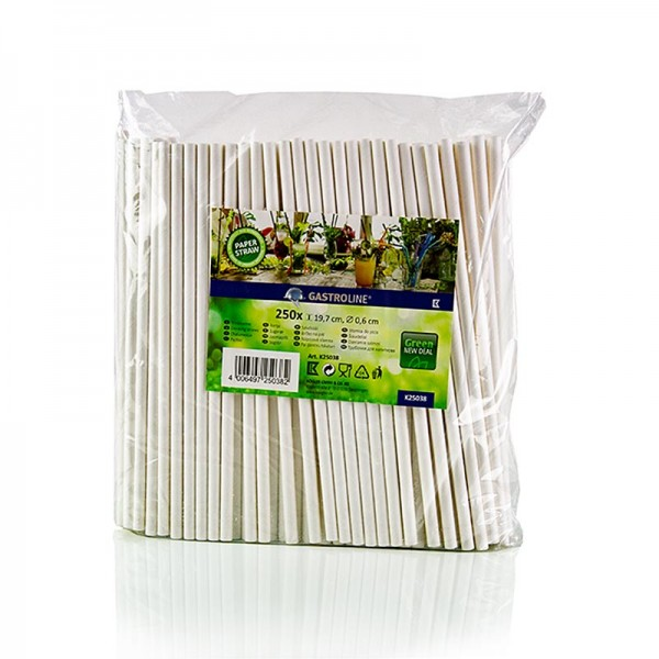 Gastroline - Papier Trinkhalme weiß Ø6mm 19.7cm 250 Stück