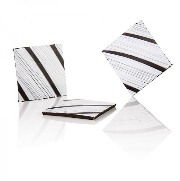 Deli-Vinos Patisserie - Deko-Aufleger Zebra - Quadrat dunkle Schokolade Zebramuster 35x35mm