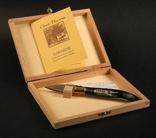 Laguiole - Austern-Messer mit Horngriff breite Klinge Laguiole-Modell in Holzbox