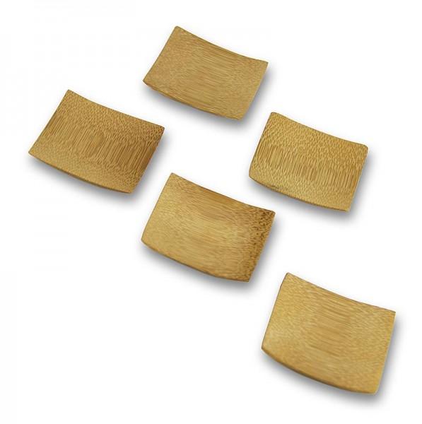 Deli-Vinos Kitchen Accessories - Mehrweg Bambusschalen leicht gewölbt und massiv quadratisch 6x6cm