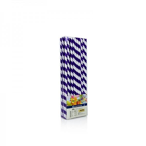 Gastroline - Papier Trinkhalme JUMBO Streifen lila-weiß 25cm