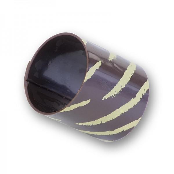 Deli-Vinos Patisserie - Schokoform - Cannelloni/Zylinder Dunkel mit Goldstreifen ø 35mm 3.5mm hoch