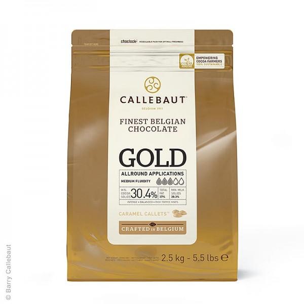 - GOLD Schokolade mit Karamellnote Callets 30.4% Kakao