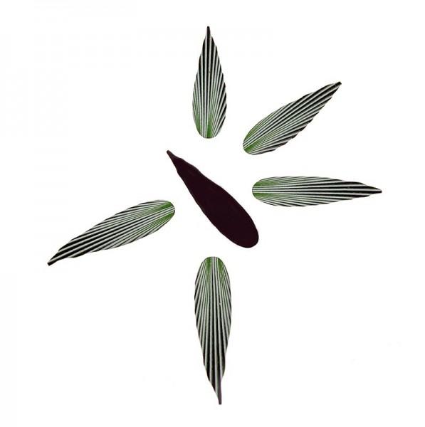 Deli-Vinos Patisserie - Deko-Aufleger Blattform - dunkle Schokolade feinen grünen Streifen 75x27mm