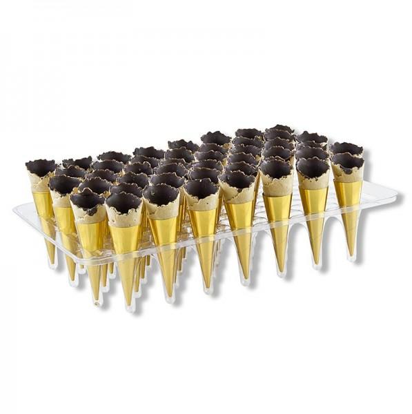Deli-Vinos Patisserie - Mini-Hörnchen Gold mit dunkler Schokolade ausgestrichen,ø 3x7cm