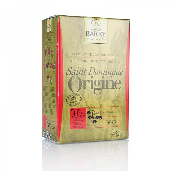 Cacao Barry - Origine Santo Domingo dunkle Schokolade Callets 70% Kakao
