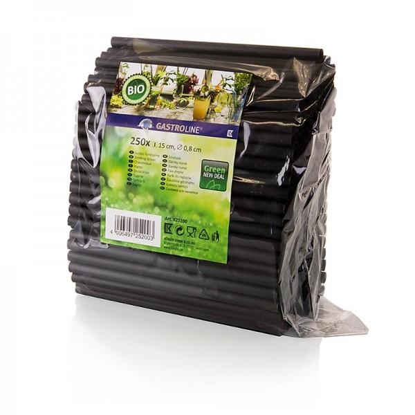Gastroline - Jumbo Trinkhalme aus PLA (Polylactid) schwarz Ø8mm 15cm lang