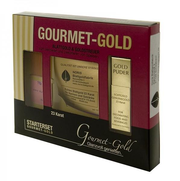 Goldgourmet - Gold - Starterset 5xBlattgold 65x65mm Goldpuder 22 Karat Pinsel E175