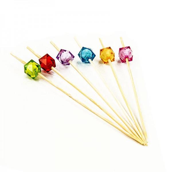 Deli-Vinos Kitchen Accessories - Bambus-Spieße Square 12cm mit bunten klaren quad. Perlen