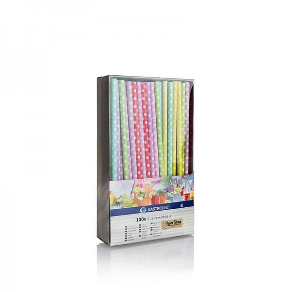 Gastroline - Papier Trinkhalme Punkte 6 Farben 19.7cm