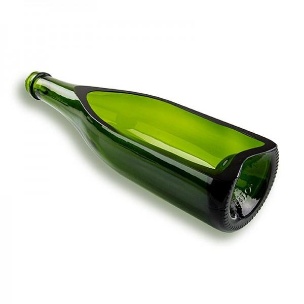 100% Chef - Halbierte Champagnerflasche grün gerade Rückseite.1/2 Flasche