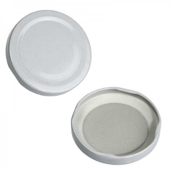 Deli-Vinos Kitchen Accessories - Weißer Deckel für Rund- und Sechseckglas 70mm 390 ml
