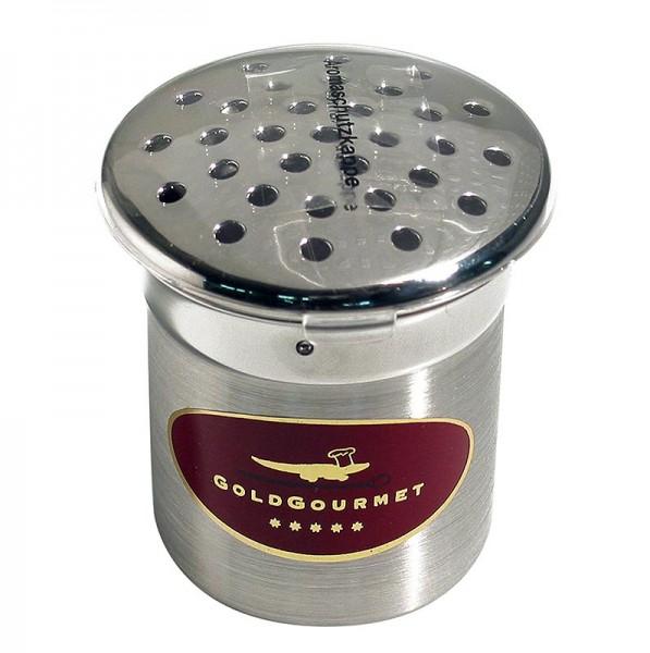Goldgourmet - Gold - Edelstahlstreuer für Blattgoldflocken ø 5cm/6cm hoch ohne Inhalt