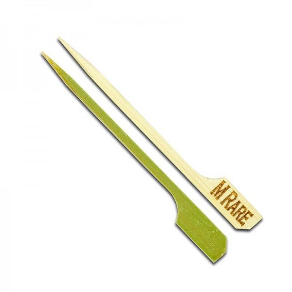 Deli-Vinos Kitchen Accessories - Bambus-Spieße mit Blattende mit Aufschrift Med Rare 9cm