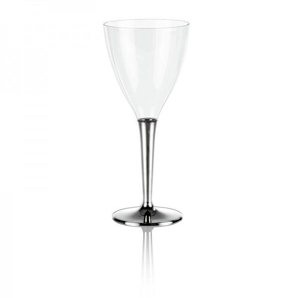 Deli-Vinos Kitchen Accessories - Einweg Weinglas Kunststoff mit silberfarbenem Fuß 130ml