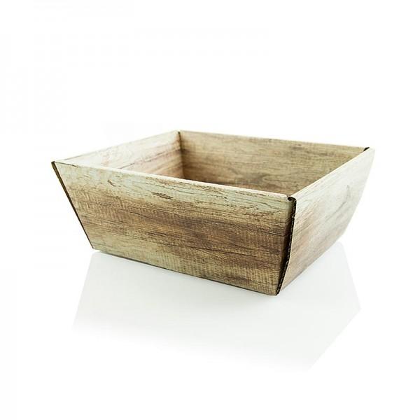 Famulus Verpackungen - Präsentkorb 4-eckig Wood -klein- 190x140x110mm
