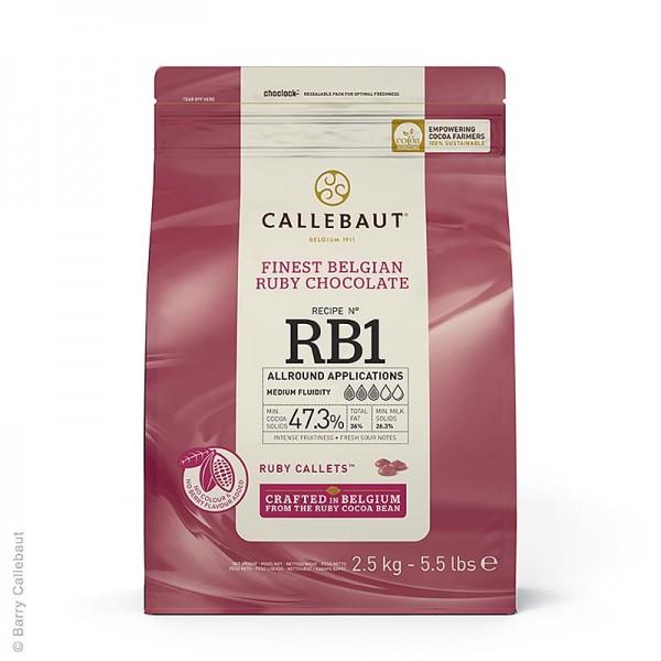 Callebaut - Ruby - Rosa Schokolade (47.3%) Callets Couverture Callebaut