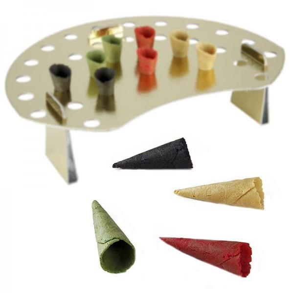 Deli-Vinos Patisserie - Mini-Hörnchen Basic neutral naturell,rot,grün,schwarz,ø 3x7cm +Waffelhalter