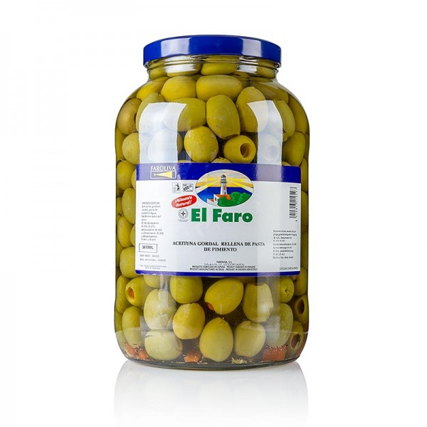 El Faro - Grüne Riesen-Oliven mit Paprika in Lake El Faro